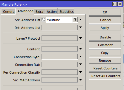 Selecting Youtube address list for packet marks