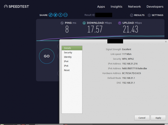 2.4Ghz WiFi connection rate vs speed screenshot